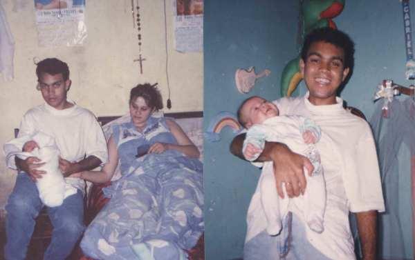 Minhas primeiras fotos como pai. Em 1994.